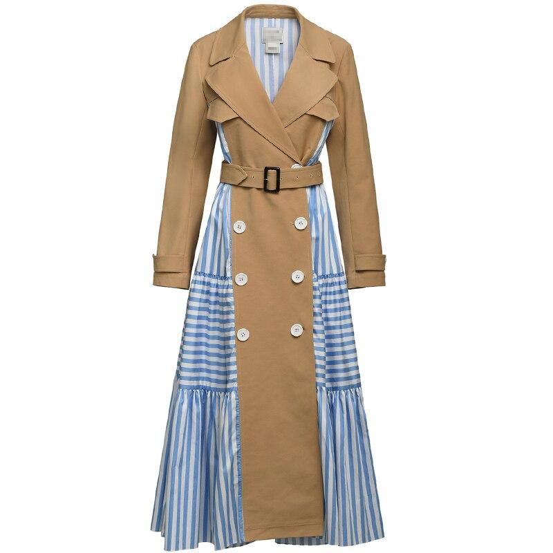 EAM 2020 New Autumn Winter Lapel Long Sleeve Blue Striped Split Joint Loose Personality Windbreaker