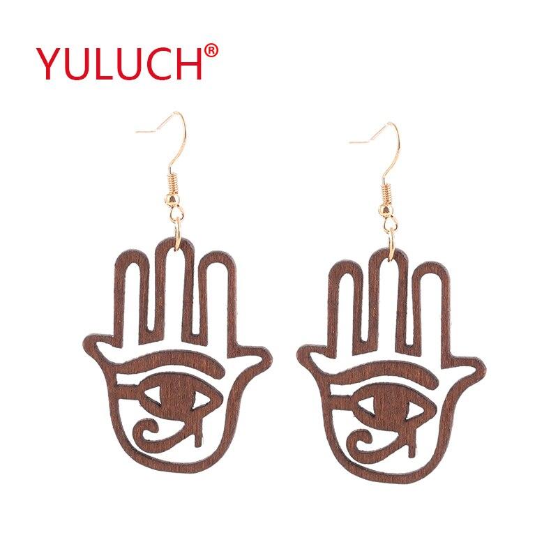 Palm Hollow Devil Eyes Wood Earrings