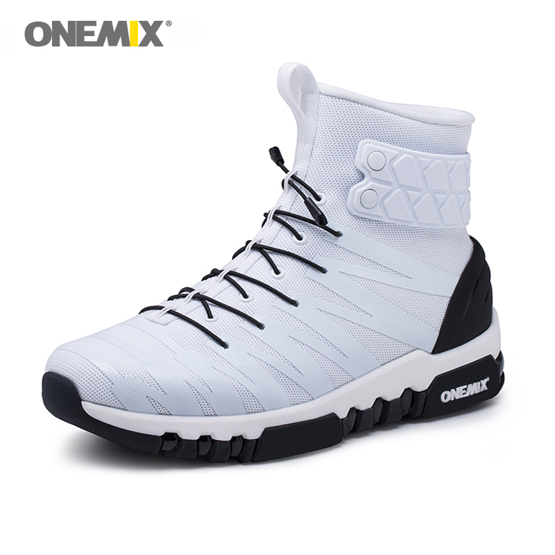 2018 Onemix Boots For Men Running Shoes Men's High Top Light Crosser Fitness Outdoor Jogging Sneakers Comfortable Running Shoes
