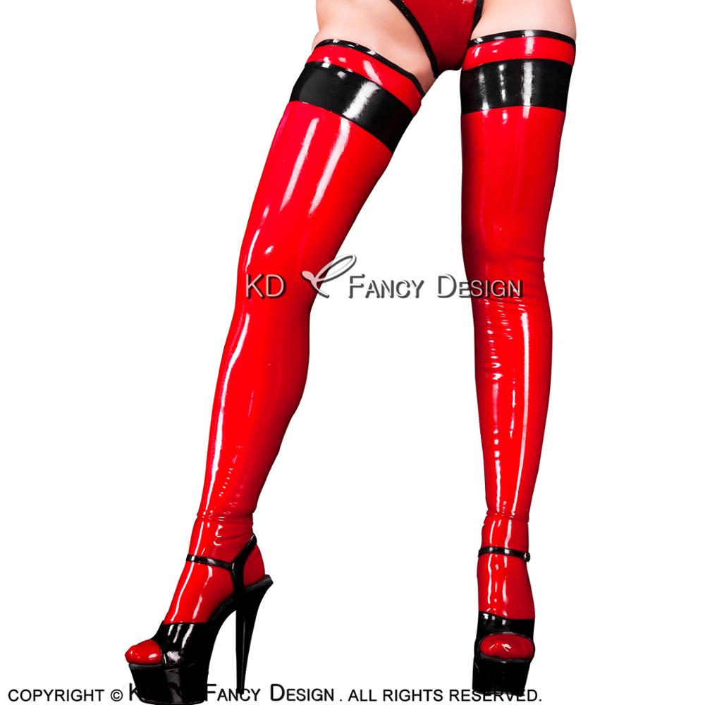 Red With Black Tirms On Top Sexy Long Latex Stockings Rubber Thigh High Stockings WZ-0020
