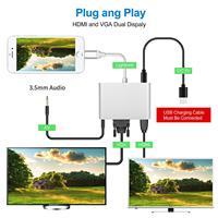 hdtv דיגיטלי 4 ב 1 וידאו אודיו דיגיטלי HDTV ממיר עד שהברק VGA HDMI AV מתאם עבור iPhone -ים X 8 7 6plus בעד / אייר iPad mini / Pro (2)