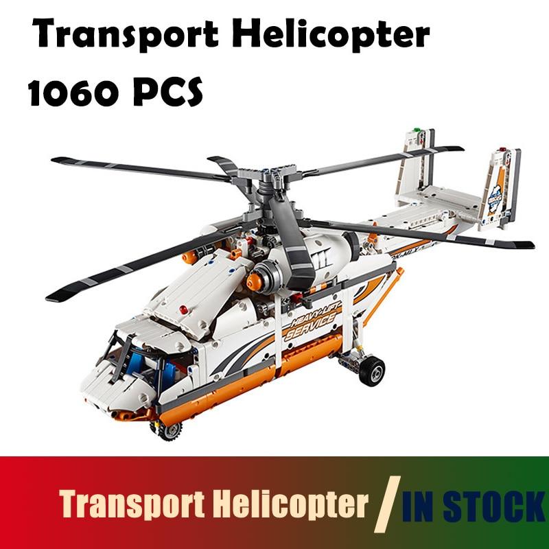 Compatible with lego technic 20002 Technic Series 1060pcs Double rotor transport helicopter Model Building blocks Bricks 42052 lego lego technic 42031 ремонтный автокран