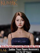 Blond Long Hair Girl 1/6 Scale Female Head Sculpts Model Toys KUMIK Model For 12″ Female Action Firure Body   Accessory