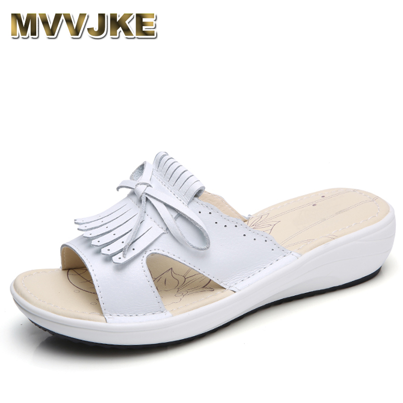 MVVJKE  2018 Summer women flat sandals Shoes white leather ballet slippers round toe fringe slides sandals female flip flops covoyyar 2018 fringe women sandals vintage tassel lady flip flops summer back zip flat women shoes plus size 40 wss765