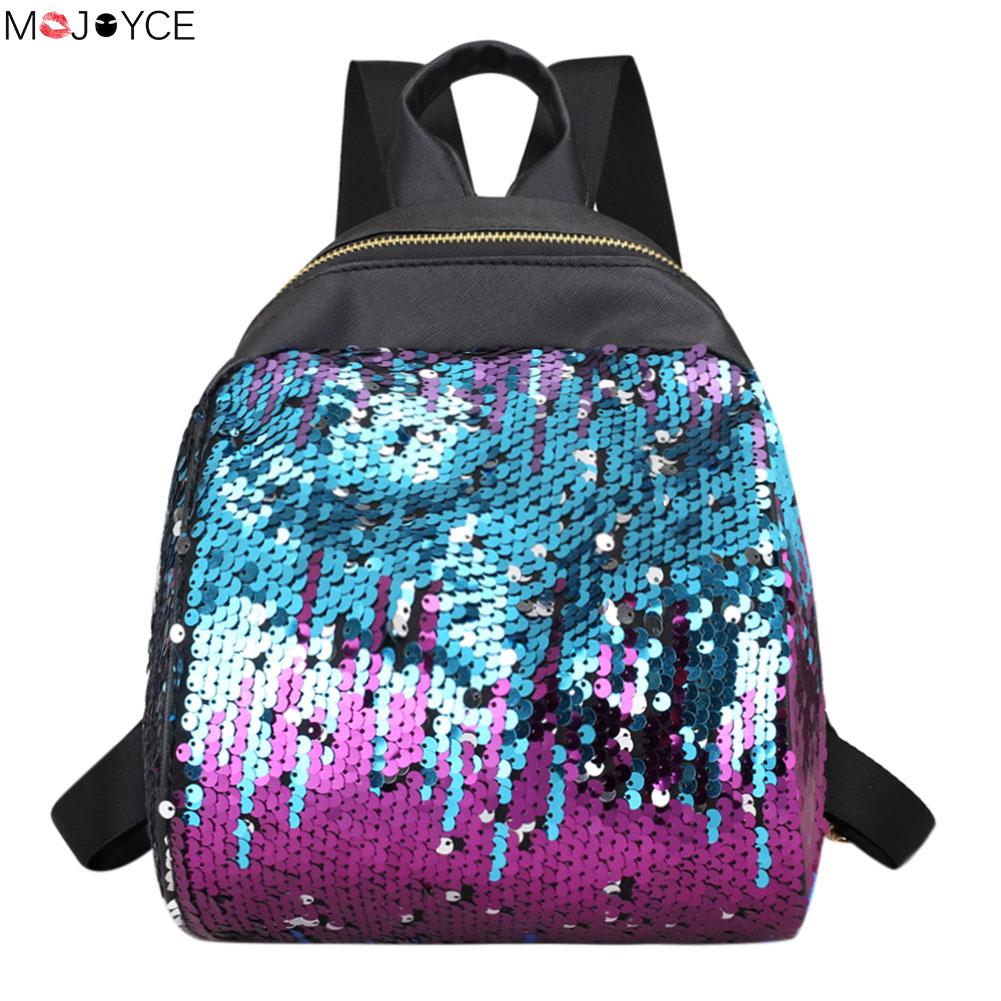 2018 Bling Bling Preppy Chic Women Sequins Backpack  Leisure Travel Bag Girls Candy School Bag Ladies Fashion Small Rucksack