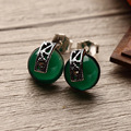 2 colors famous brand retro jewelry Earrings 925 Silver Marcasite Green chalcedony agate stud Earrings female girlfriend gift