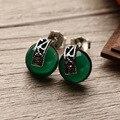 2 cores famosa marca retro 925 brincos de Prata Marcassita Verde calcedônia ágata Brincos do parafuso prisioneiro do sexo feminino presente namorada