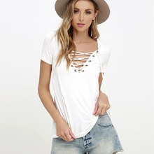 цены на Women T-shirt 2017 Summer Fashion Short Sleeve Sexy Deep V Neck Solid color Bandage Shirts Women Lace Up Tops Tees T Shirt S-5XL  в интернет-магазинах