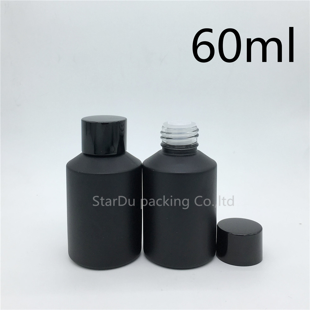 60ml Matte Black Empty Glass Bottle with Reducer for Essential oil, 60CC make up glass bottle with screw on lid 2pcs dispenser lid monin syrups 1833 syrups pump lid syrups dispenser monin glass bottle pump lid with high quality