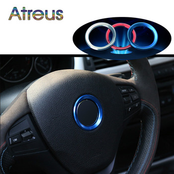 Atreus 1pcs 3D Aluminium Car Styling Steering-Wheel Circle Covers Stickers For BMW E46 E39 E60 Accessories For BMW E90 E34 E92 image
