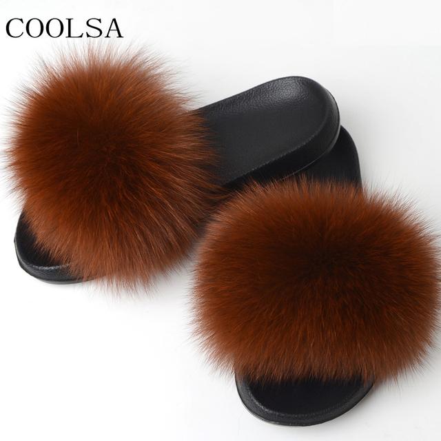 COOLSA Women's Fox Fur Slippers Indoor Flat Warm Furry Slippers Outside Girls Plush Sandals Women Slides Flip Flops Big Size 11