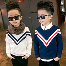 2017 Autumn New Boys Long Sleeved Sweater High Quality Winter Clothing Cashmere Sweater Striped Pullover For 3~8 Y