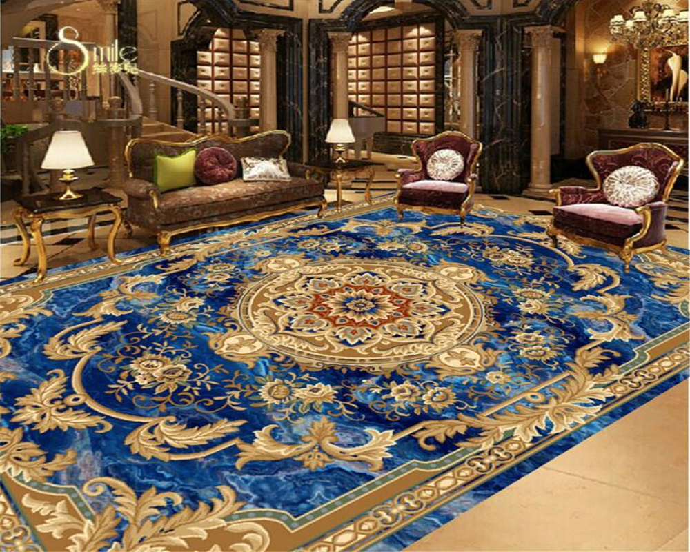 Beibehang European style marble ceiling carpet pattern floor painting 3D wallpaper home decoration zenith decorative wallpaper 3d printing claybank marble pattern non slip floor carpet