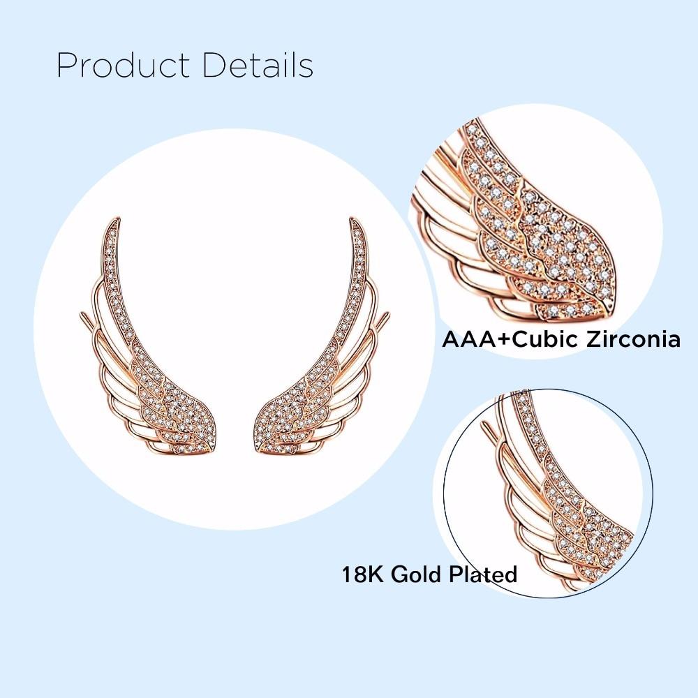 EAR VINES Angel Wings Ear Cuff Pins CZ Crystal Hook Earrings Gold Tone UqKET