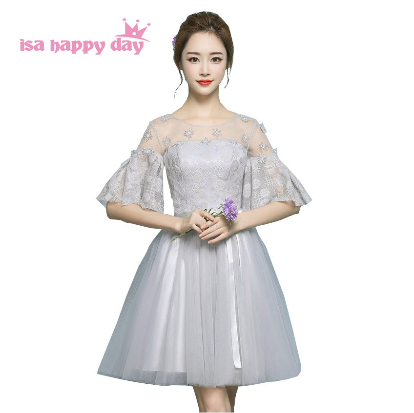 modest cute short grey grade 8 teenage graduation dress fancy dreses girls tulle ball gown dresses for teens under $50 H4214