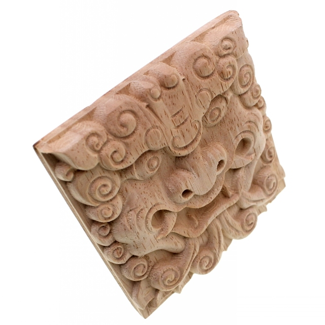 Square Wooden Dragon Carved Ornament