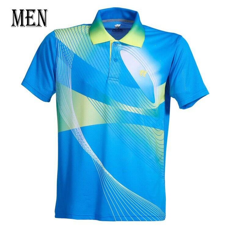 Спортивная быстросохнущая дышащая футболка для бадминтона, майки для женщин/мужчин, волейбол, гольф, настольный теннис, боулинг, мужские футболки - Цвет: Man Blue Shirt