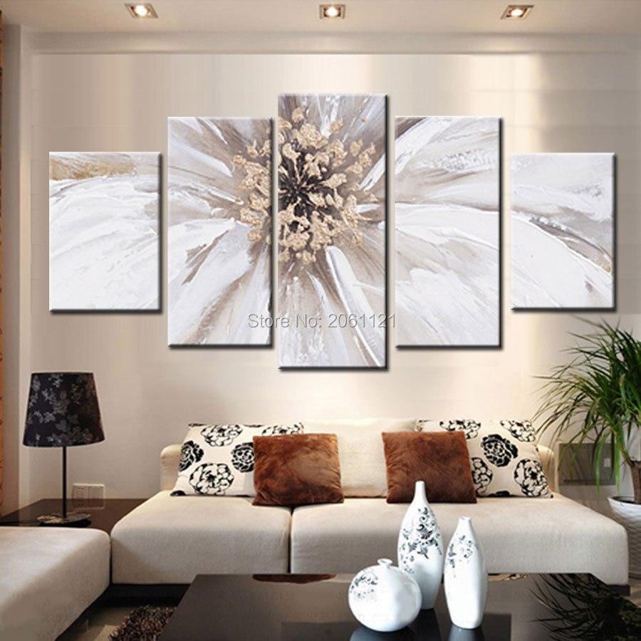 Ruční kresba 5 kusů moderní abstraktní kresby obrovský velký bílý květ olejomalba na plátně nástěnné dekorace obrázky sada