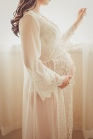European Style White Lace Long Section Pregnant Women Dress Pregnant Women Photography Propselegant Cardigan Sleepwear