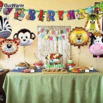 eda3019de133 Decoración de fiesta de cumpleaños Animal cálido niños 1 pieza de papel  Feliz cumpleaños decoración Banner 6 piezas de globos de lámina de animales