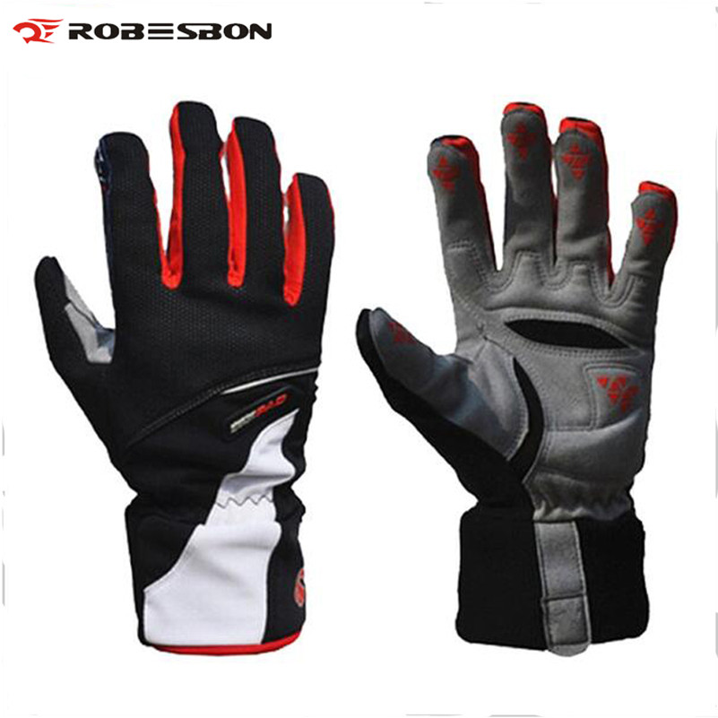 ROBESBON High Quality <font><b>Cycling</b></font> Gloves Winter Thicken Bicycle Bike Gloves Windproof Waterproof Wearable <font><b>Full</b></font> Finger Warm Gloves