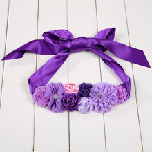 Buy h-grade pure handmade flower belts exported to Europe and America PinPurple photographic waistband Photo props for pregnant wo directly from merchant!