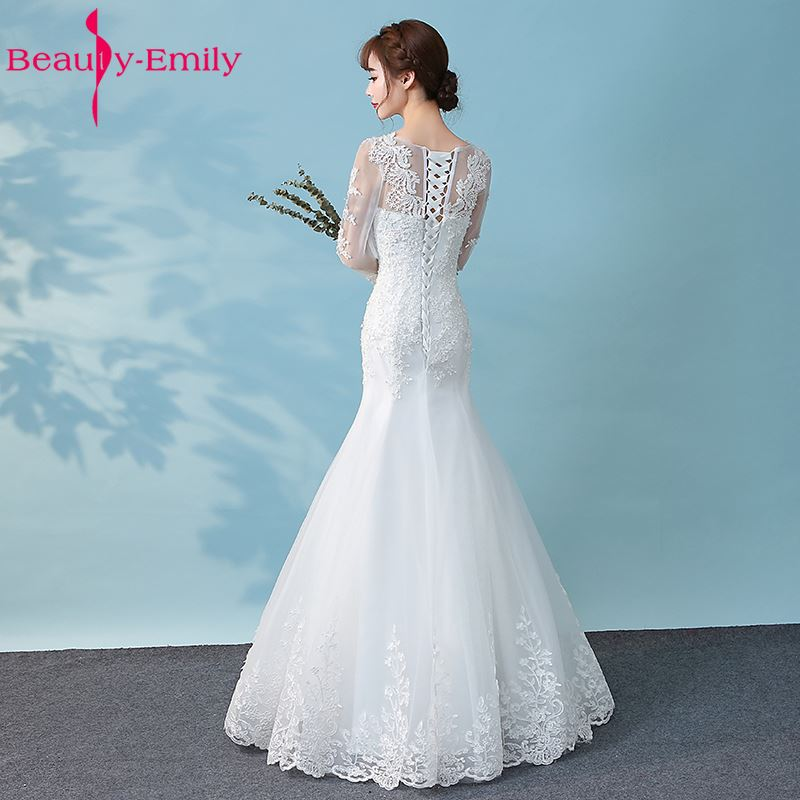 Beauty Emily White Lace Beads Wedding Dresses 2019 Mermaid Lace Up Appliques Bridal Dresses Wedding Gowns with veil Gloves in Wedding Dresses from Weddings Events
