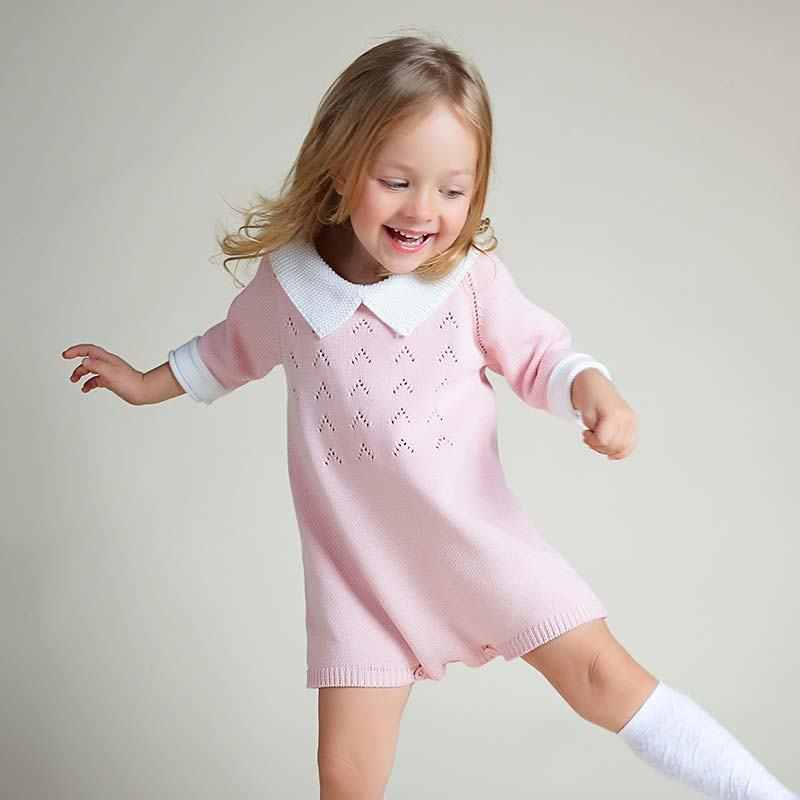 Baby Girl Pink Knitted Romper Cute Girls Peter Pan Collar Pure Cotton Jumpsuits Clothes Kids Spring Single Button Solid Overall sweet peter pan collar button back women s tank top