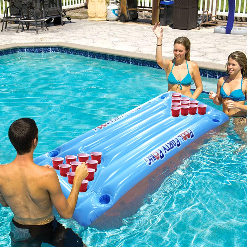 PVC Inflatable Beer Pong Table Mattress Lounge Pool Float 24 Cup Holder for Summer Tumbona de agua juego fila flotante HTQ99