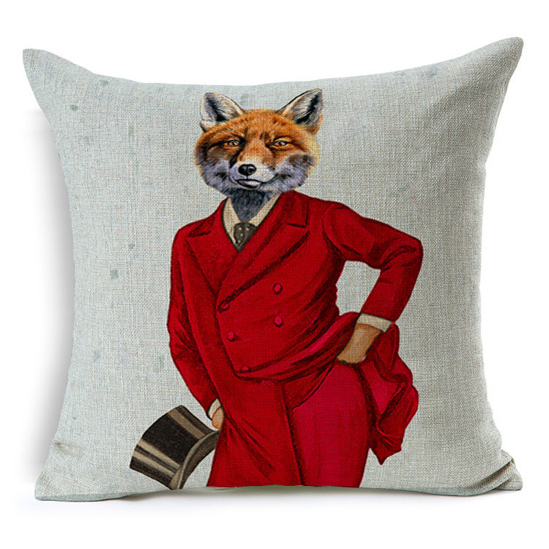 RUBYLOVE Humanoid Animal Series Pillowcase Cotton Linen Valentine Chair Seat And Back Waist Square Cushion Cover Home Textile