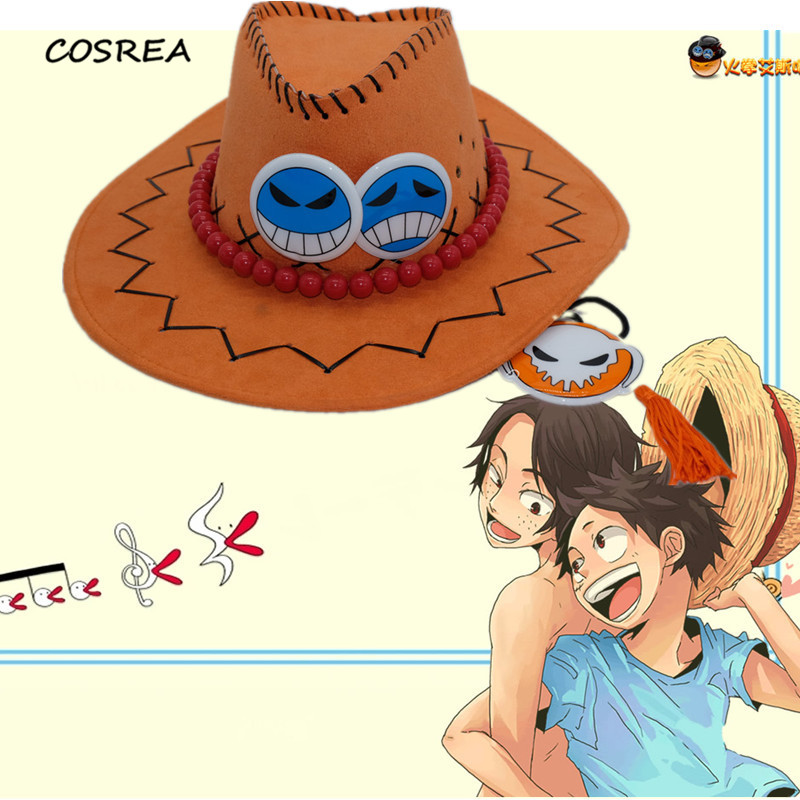 Anime One Piece Hat Fire Fist Portgas D Ace Sun Hats Toy Cosplay Cap Cartoon Hats Cowboy Hat Doll Red Costume Halloween