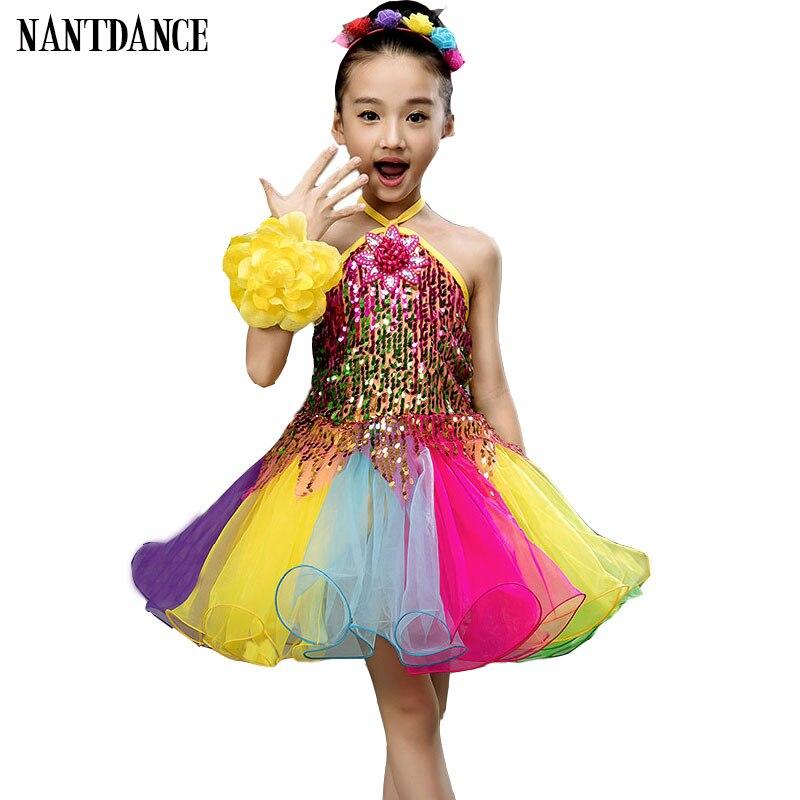 Балетное платье для девочек; детские танцевальные костюмы с блестками для девочек; балетная пачка для девочек; танцевальная одежда для сцены - Цвет: Розовый