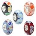 Стерлингового Серебра 100% 3D Цветы Муранского Стекла Бусы Подходит Европейский Браслет Браслеты Подвески Европейский DIY Ювелирных Изделий