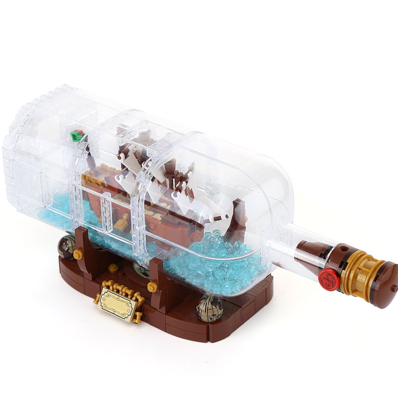 Lepin 16051 Toys 1078Pcs Ship in a Bottle LegoINGly 21313 Sets Building Nano Blocks Bricks Funny Toys For Kids Birthday Gifts lepin pirates of the caribbean 16051 16009 queen anne revenge building blocks bricks toys for children legoingly ship 4195 21313