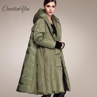 2018 Ceciliayu Новинка зимы Стиль модная пуховая куртка длиной колена толстые свободные большой Размеры Для женщин длинное пуховое пальто