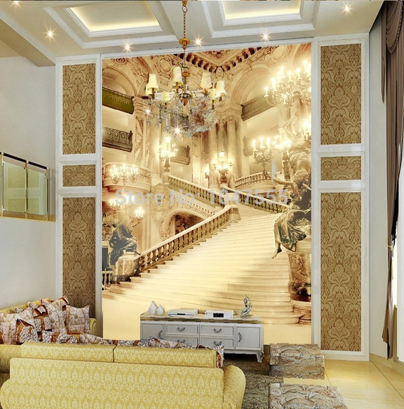 3d Murals Living Room Entrance Mural Wallpaper Wedding Photography Background Painting Palace Stairsl Photo In Wallpapers From Home