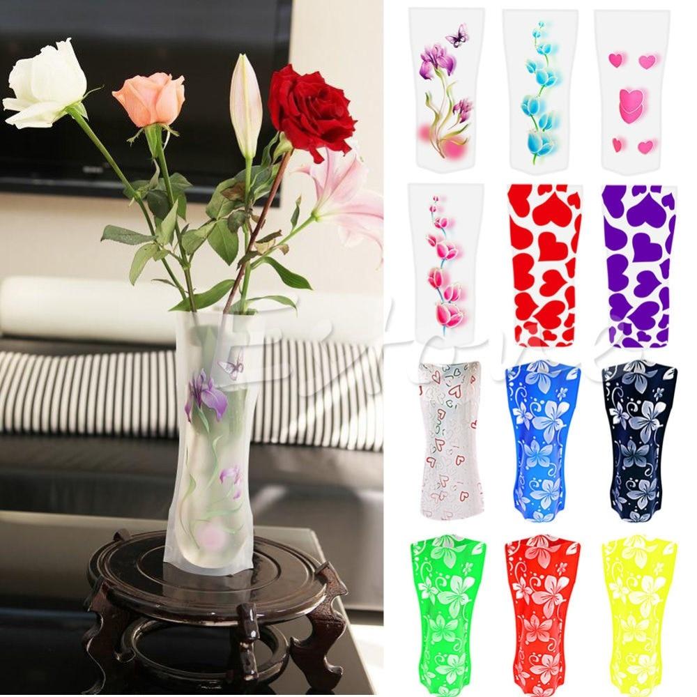 S Home New 2pcs Foldable Plastic Unbreakable Reusable Flower Home Decor Vase Color Random Mar14