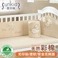 4 unids juego de cama de bebé alrededor piezas conjunto 100% algodón bebé cuna bedding kit de otoño e invierno de algodón de color