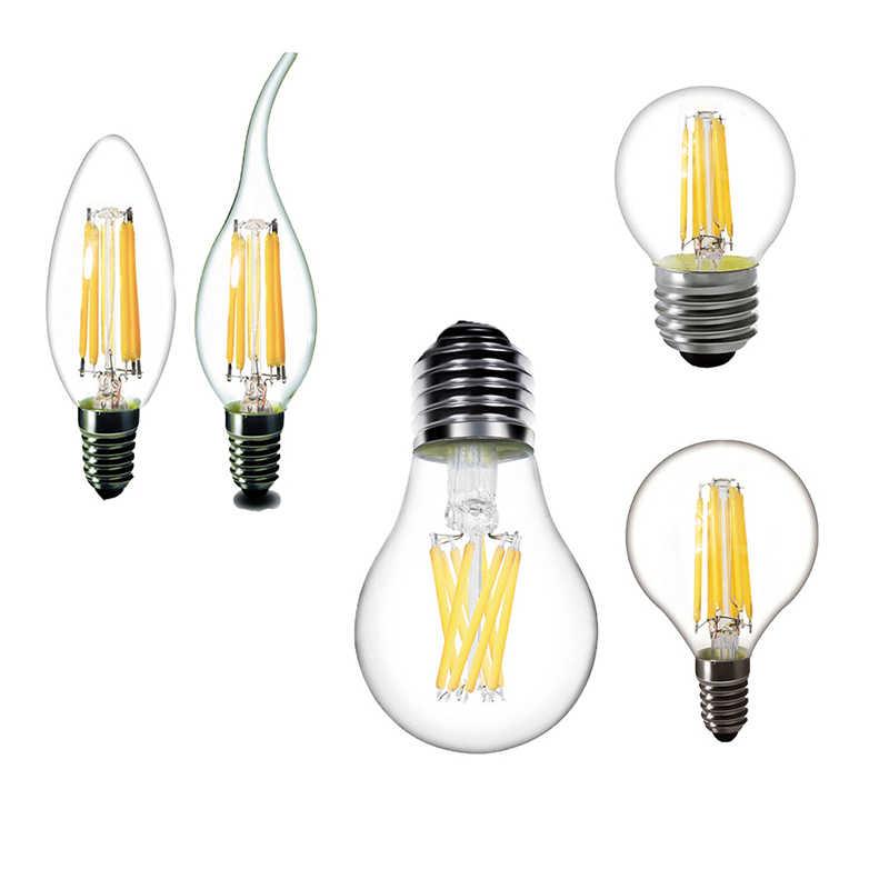 LED Filament Light A60 220V E14 LED Candle Bulb E27 LED Lamp C35 G45 230V 240V COB Decoration lamp Iron Chandelier bulb