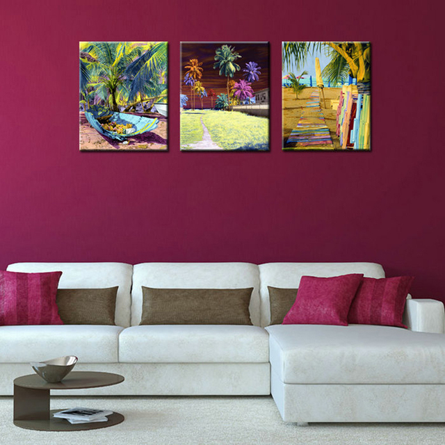 3 Piece Canvas Wall Art Sets Abstract Tropical Plants Canvas Prints