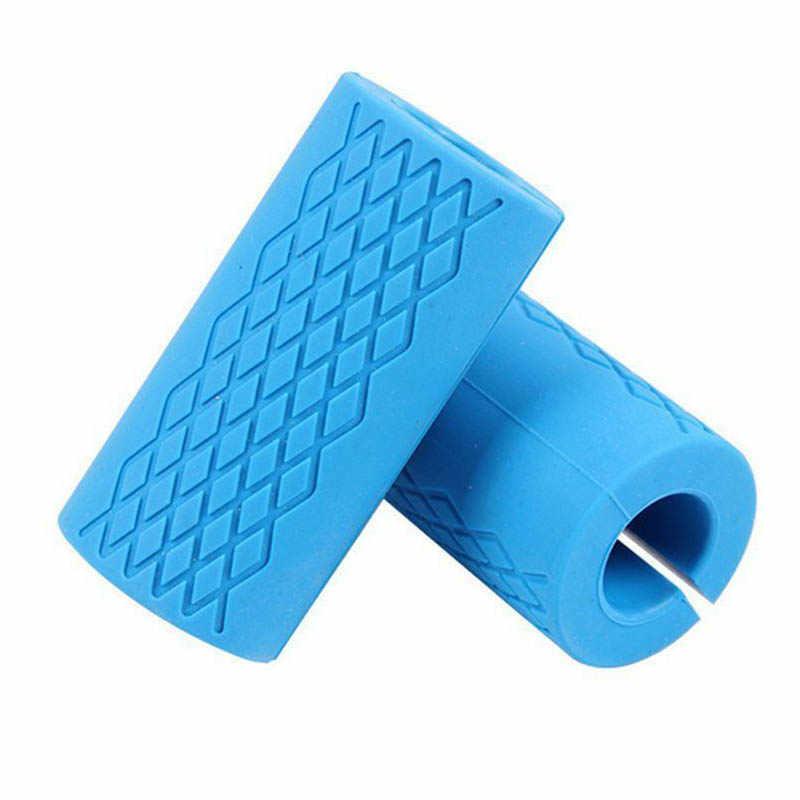 1 пара штанга сцепление толстые Ручки Силиконовые Нескользящие Защитная площадка тянуть вверх ручки Поддержка синий цвет