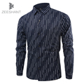 ZEESHANT Chemise Homme Mew Quality Male Shirt Fashion Brand Striped Shirt Long Sleeved Dress Shirt in Men's Tuxedo Shirts