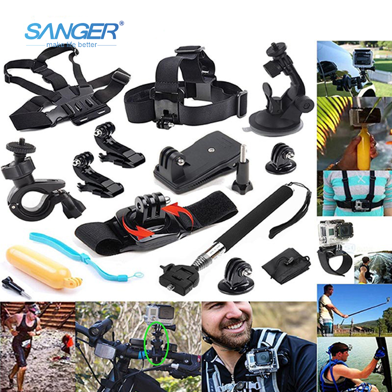 SANGER for Gopro Accessories chest mount 12in1 Bundle kit for Go Pro Hero 5 4 3