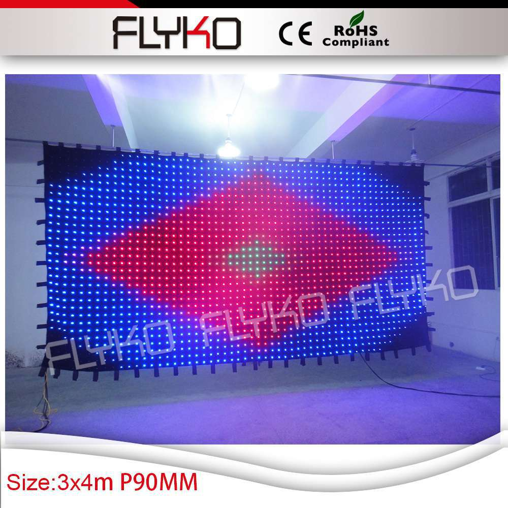 Led curtain concert - Free Shipping P9 3x4m Flexible Led Curtain Display For Concert Stage Decoration