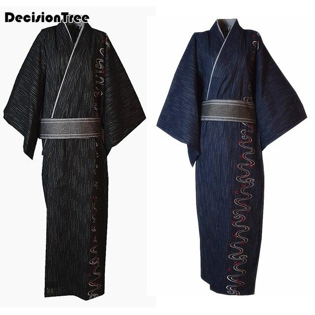 2019 summer vintage japones kimono man japanese traditional robe male yukata stage dance costumes hombres quimono men(no belt)