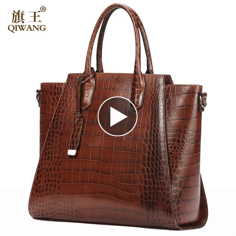 Brun Authentique sac pour femme 100% En Cuir Véritable Femmes Crocodile Sac À Main Vintage Grand Fourre-Tout sac pour femme sac de marque