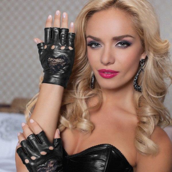Fashion Women Half Finger Gloves PU Leather Fingerless