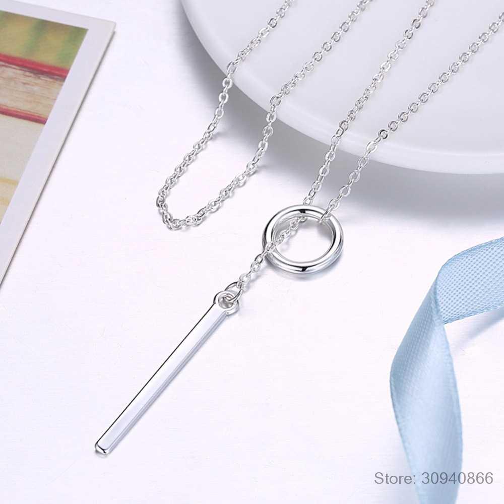 Yeni Gelenler 925 Ayar Gümüş Uzun Daire Kolye ve Kolye Kadınlar Için Moda ayar-gümüş-takı