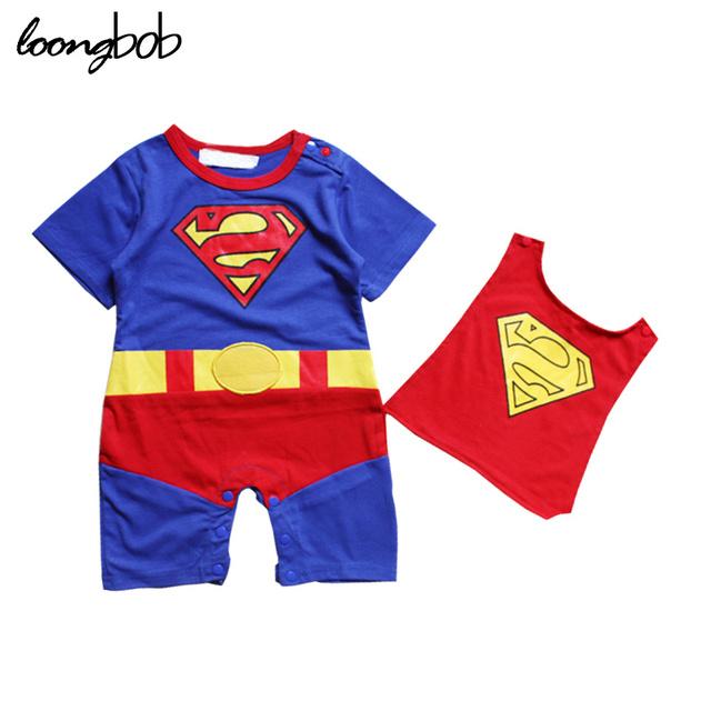 Macacão de Bebê verão Crianças Meninos Superman Batman Romper Do Bebê Recém-nascido Roupas bebe Roupas Trajes Cosplay