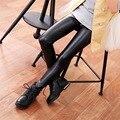 Calças de couro meninas de Couro Preto PU meninas esticar calças Leggings crianças roupas crianças Calças Encaixa Calças Da Menina do Adolescente
